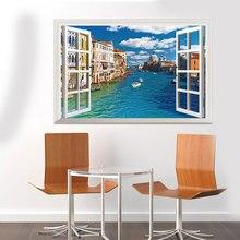 3DVinyl Wall Decorations Wall art Living Room Dedroom False Window Landscape Urban River Wall Decorations diy Wall Sticker