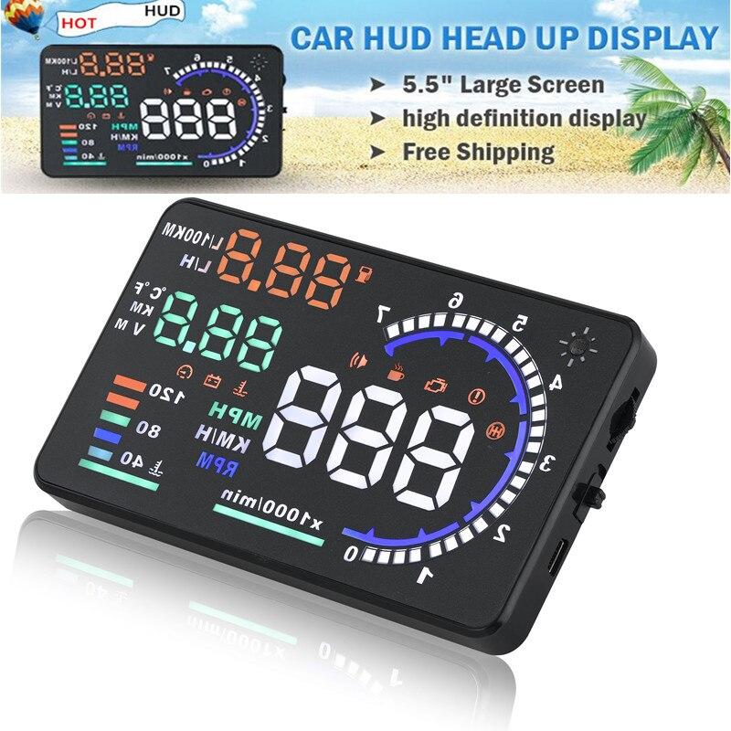 Haute qualité 5.5 ''voiture HUD affichage tête haute LCD numérique projecteur véhicule OBD2 II Interface A8 HUD système d'alarme de survitesse