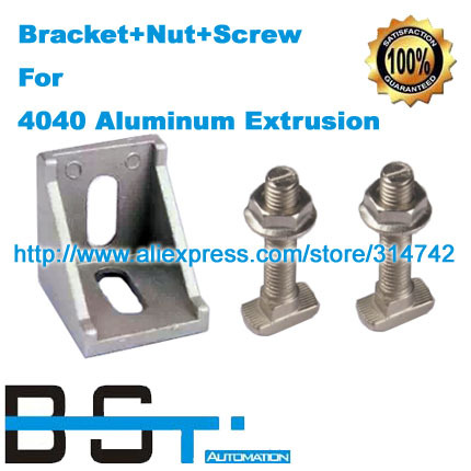 Aluminum bracket + M8*20 M8 T Screw Bolt + M8 Flange nut    4040 aluminium profile connector accessories-in Corner Brackets from Home Improvement    1