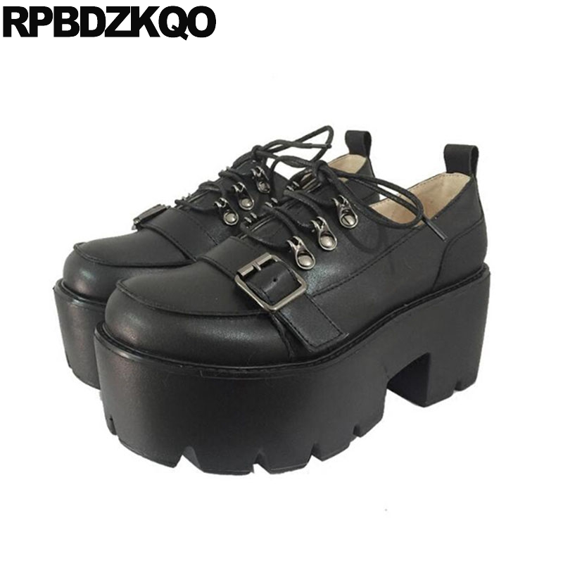 Round Toe Lolita Harajuku Lace Up Oxford Heels Gothic Shoes Strap Women Platform 3 Inch Japanese Creepers Punk High Block Pumps sandals round toe t strap platform shoes big size women 11 43 high heels fetish thick black gothic ultra punk pumps 10 42 bar