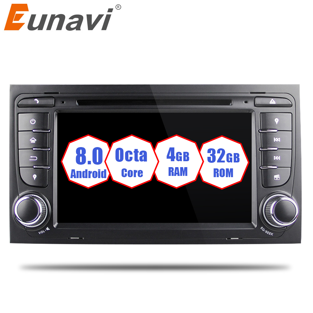 Eunavi 7'' Octa 8 Core 2 Din Android 8.0 1024*600 Car DVD Radio Stereo player for for Audi A4/S4(2003 2013) GPS Navi WIFI USB BT