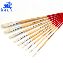Buy BGLN Long Bristle Flat Oil Painting Brush Solid Wood Pole Artist Oil Acrylic Paint Brush Art Supplies 7110F directly from merchant!