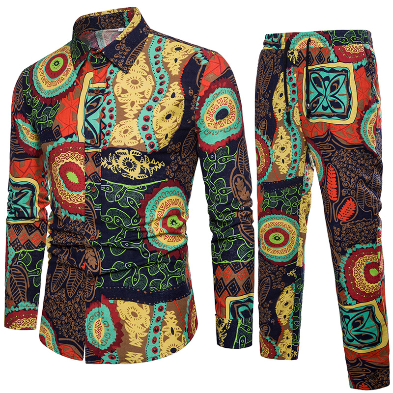 6 colors Men Long Sleeve Loose Flower Shirts and Drawstring Pants Size S 5XL Men Sets