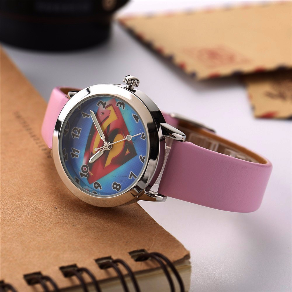 Fashion Kids Watch Sports Wristwatch Superman Quartz Watch Children Clock Boy Girl Wrist Watch Cute Cartoon Pink Leather Watches