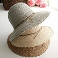 HOT 2017 Nueva Moda Cielo Abierto del cordón de sombreros de sun Del Verano sombrero de Playa cofia hat para mujeres de las señoras Pequeño sombrero de ala de encaje libre gratis