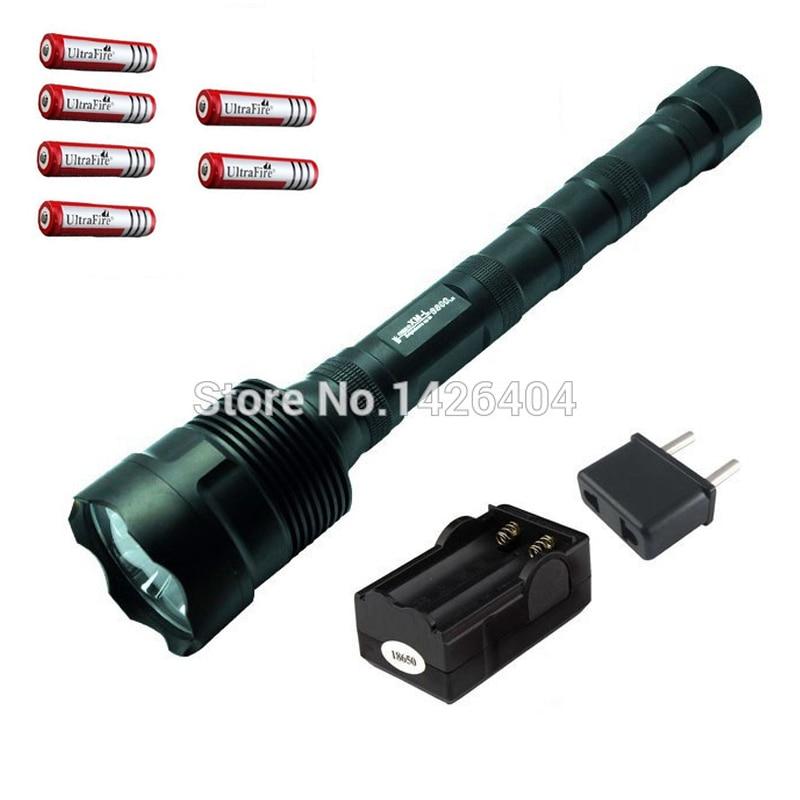 Big Discount Flashlight 5 Mode 3800 Lumen XM-L T6 LED Flashlight+6*18650 Battery+Charger Super Bright Flashight Lanterna Tatical ultrafire 18wg t60 xm lt6 5 mode 910 lumen white led memory flashlight silver 1 x 18650