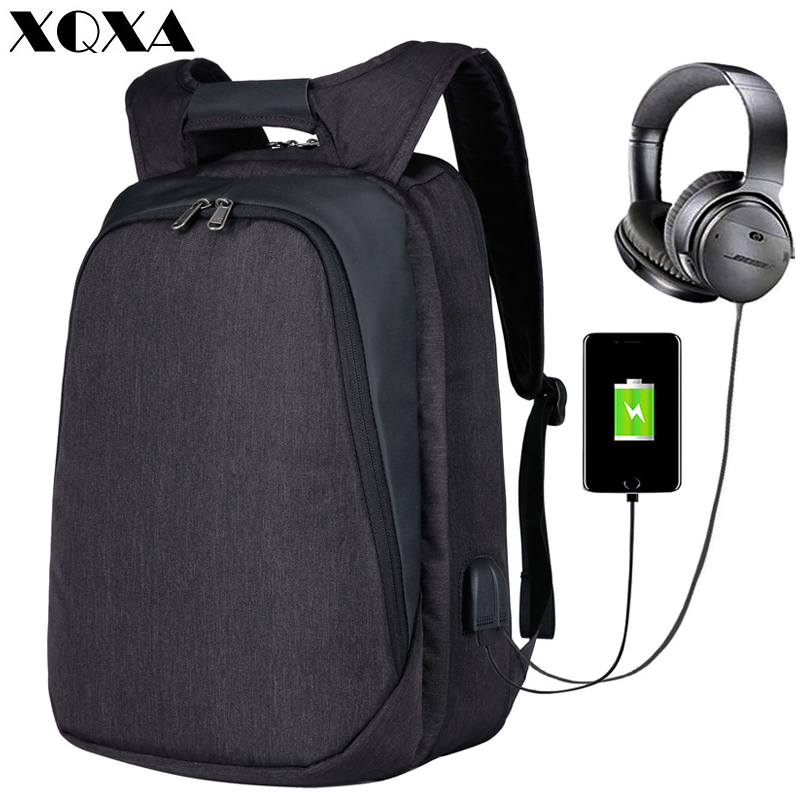 XQXA Laptop Backpack Durable Daypack Bag With USB Charging/Headphone Port For Men Business17 Inch Notebook Computer bag backpack 17 inch laptop backpack men usb charging nylon camouflage travel backpack computer bag headphone hole rucksack daypack notebook