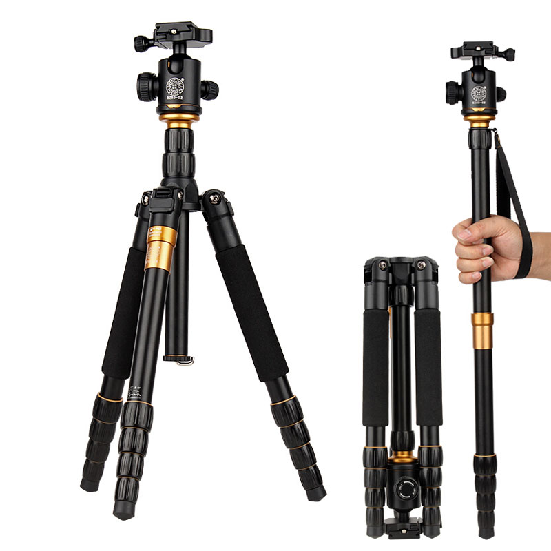 New QZSD Q666 Portable Camera Tripod Monopod + Professional Ball Head Compact Travel Tripod for Canon Nikon Sony DSLR SLR Camera qzsd q570 portable tripod professional camera tripod monopods for slr camera tripod head monopod changeable for slr dslr camera