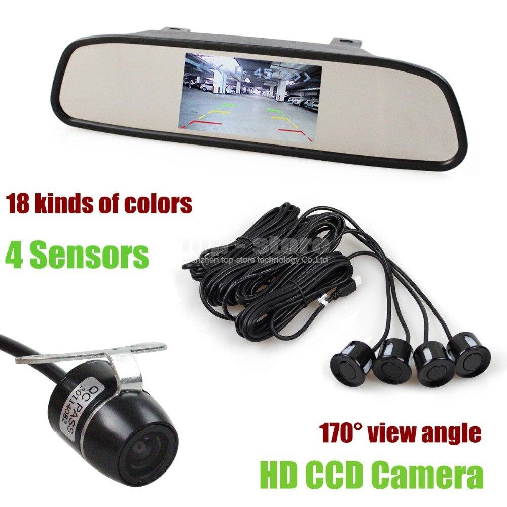 ФОТО DIYKIT Video Parking Radar 4 Sensors 4.3 Inch Car Mirror Monitor + HD Ccd Rear View Car Camera Parking Assistance System Kit