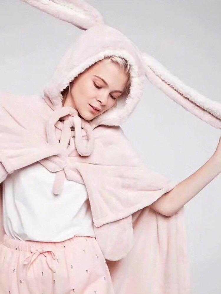 Cute Pink Comfy Blanket Sweatshirt Winter Warm Adults and Children Rabbit Ear Hooded Fleece Blanket Sleepwear Huge Bed Blankets 25