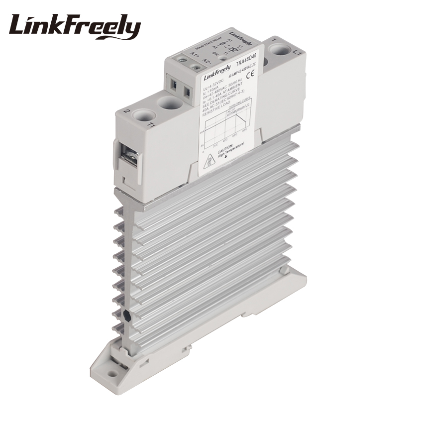 TRA48D40M Integrated Heat Sink Radiator SSR Solid State Relay Din Rail 40A 42-480VAC Out 5V 12V 24VDC In Voltage Control