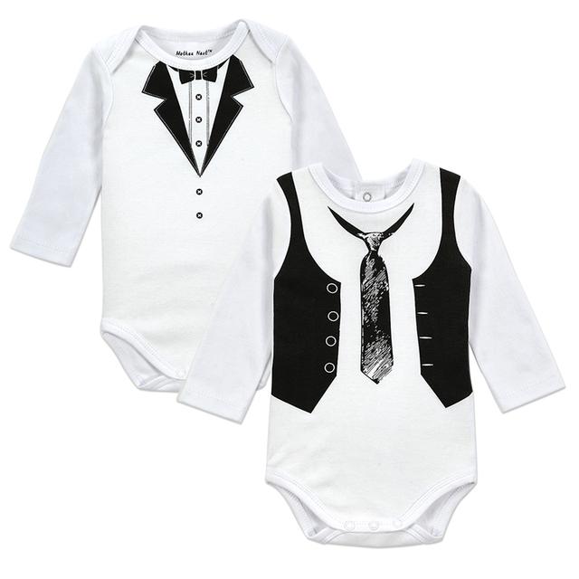 2 PÇS/LOTE Padrão Cavalheiro Meninos terno Do Corpo Do Bebê de Manga Longa Romper Roupa do bebê Conjuntos de Roupas de Bebê Menino Macacão de Algodão Recém-nascidos