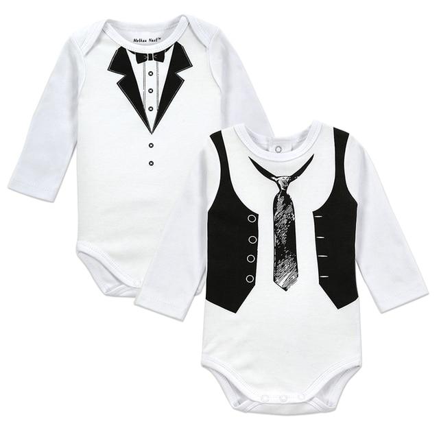 5ca0a318abe39 2 UNIDS LOTE Bebé Caballero Patrón Body suit Niños de Manga Larga Mameluco  Del bebé
