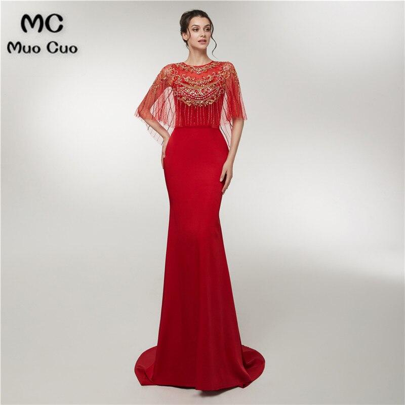 2018 Mermaid Beaded   Prom     dresses   Long Scoop Neck Vestidos de fiesta Floor Length Backless Elastic Satin Women's Evening   Dress