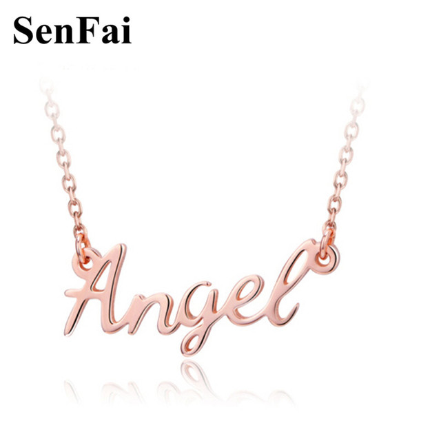 senfai new personalized necklace in rose gold custom name angel