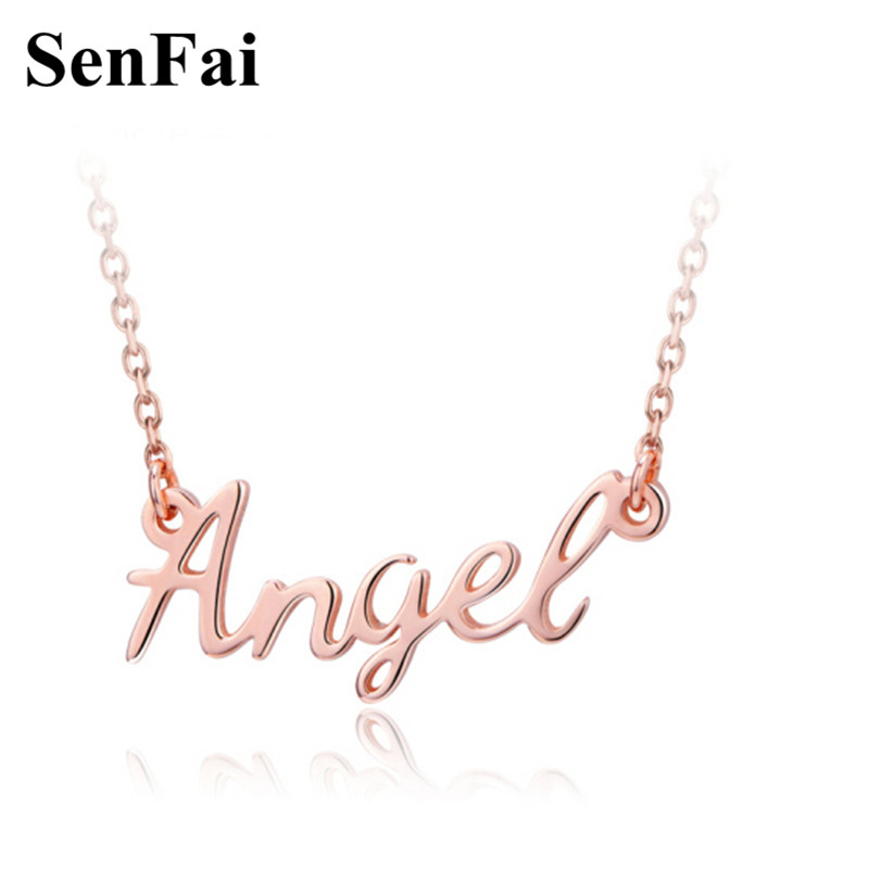 Senfai New Personalized Necklace in rose gold Custom Name Angel Silver Charms Women Men Pendants Necklaces Fashion Jewelry Gift