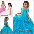 High Quality 2015 New Cheap Flower Girls Pageant Dresses Ball Gown Quinceanera Sequined Crystals Hollow Kids Evening Gowns
