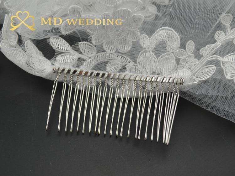 Real Photos White//Ivory Wedding Veil 3m Long Comb Lace Mantilla Bridal Veil Wedding Accessories MD3030