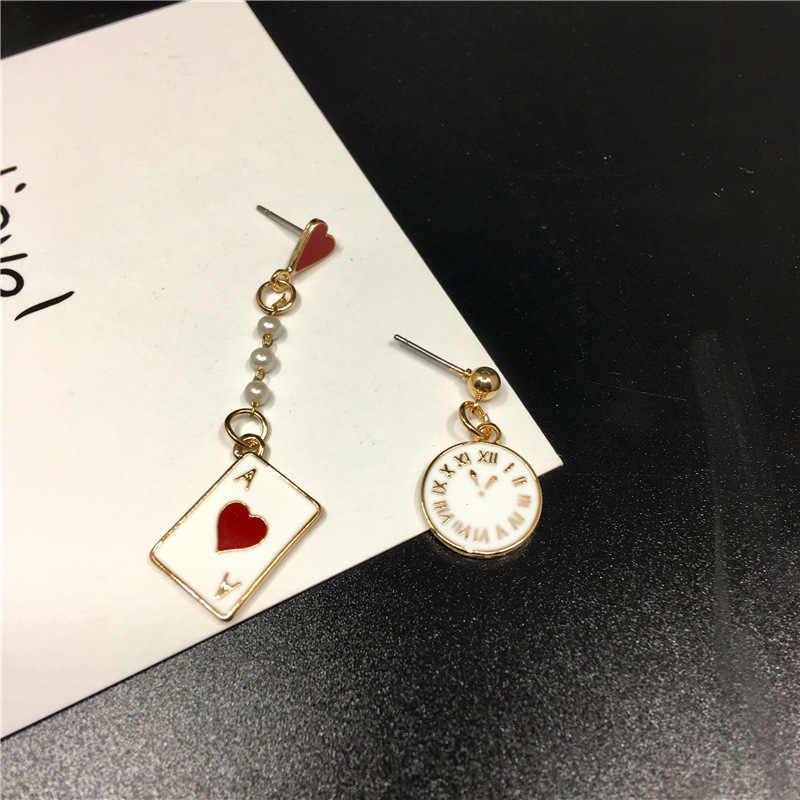 YIMLOI!! 2018 Newst Fashion Pearl Poker Pendant Trendy Women Jewelry Clock  Watch earrings 4g