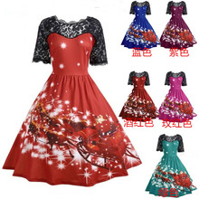 Europe style Christmas cartoon patchwork dresses lace vintage A-Line short  ankle-length print fashion o-neck