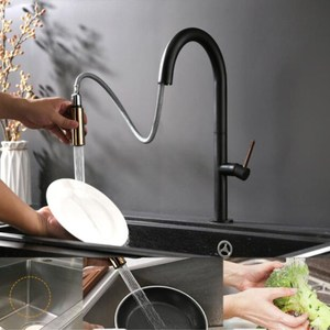 Image 3 - Newly Arrived Pull Out Kitchen Faucet Rose gold and White Sink Mixer Tap 360 degree rotation  kitchen mixer taps Kitchen Tap