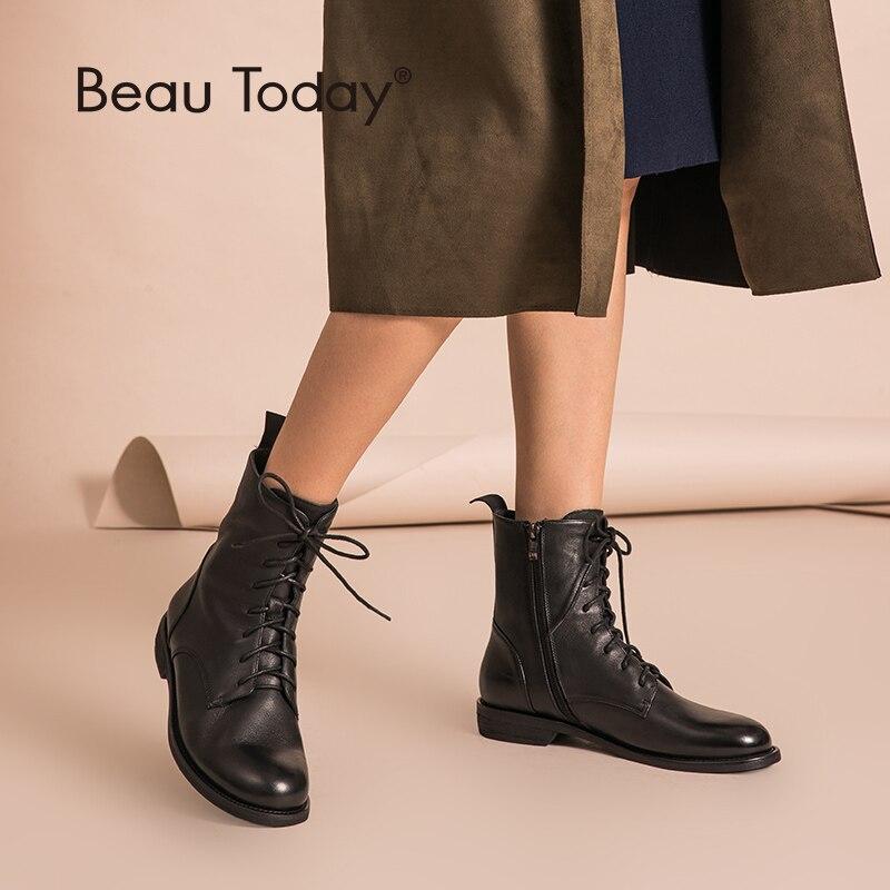 Beautoday tornozelo botas femininas de couro genuíno com zíper lateral superior qualidade outono inverno senhora sapatos feitos à mão 02012
