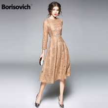 Borisovich New 2018 Spring Fashion EuropeStyle O-neck Knee Length Women Casual Lace Dress High Quality Ladies Party Dresses M230