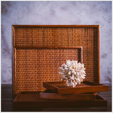 Manual Rattan Wood Tray Rectangle Tray Fruit Tea Serving Tray 40*30cm Big Size