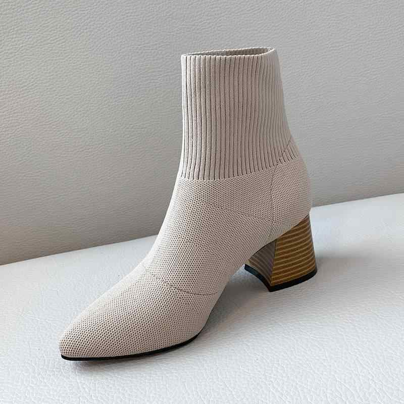 Rahat karışık renkler İnek deri kayma kare ayak yüksek topuklu kadın yarım çizmeler pist tatlı moda çizmeler kış ayakkabı L14