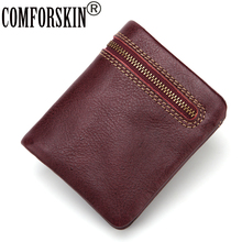 COMFORSKIN Brand New Arrival Genuine Leather Multi-function Mens Wallet 2018 Hot Design Vertical Soft Man Purse Vintage Style