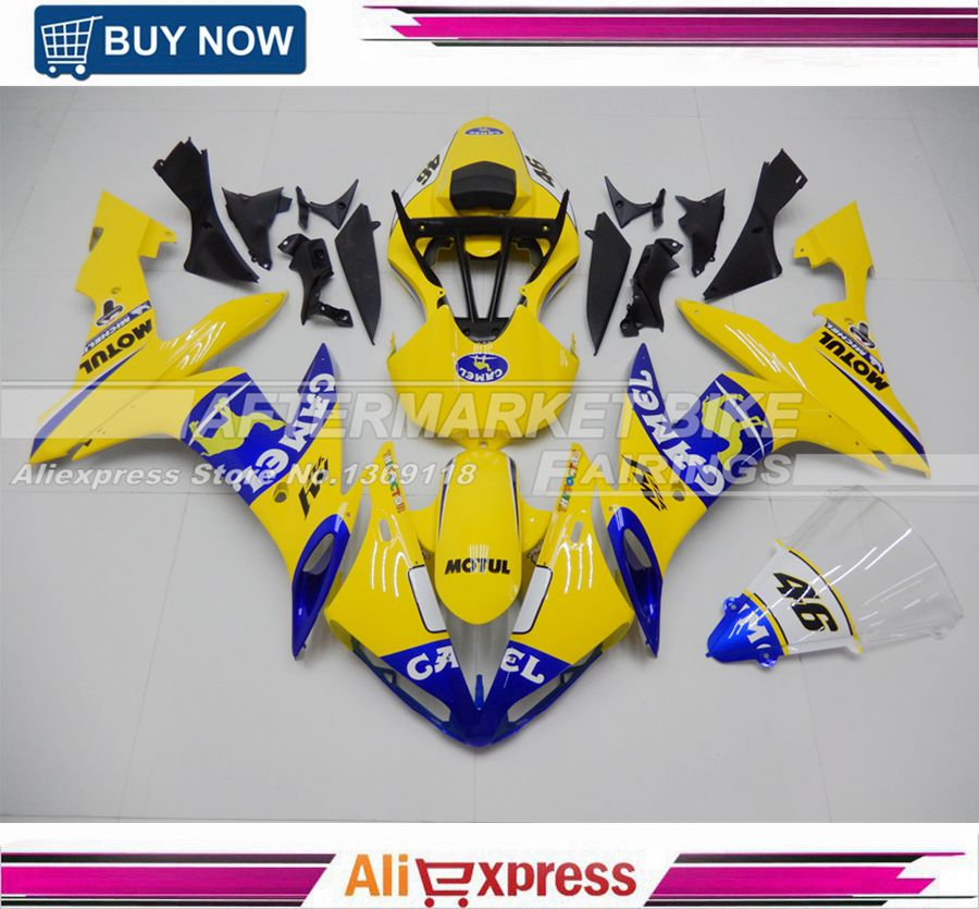ABS Fairings Kits Bodywork For Yamaha YZF R1 YZFR1 2004 2005 2006 04-06 Fairing Replacement Rossi VR46 Yellow Camel Design abs plastic fairings for bodywork kawasaki zx10r 04 05 popular light green 2004 2005 zx10 fairing kits gt76