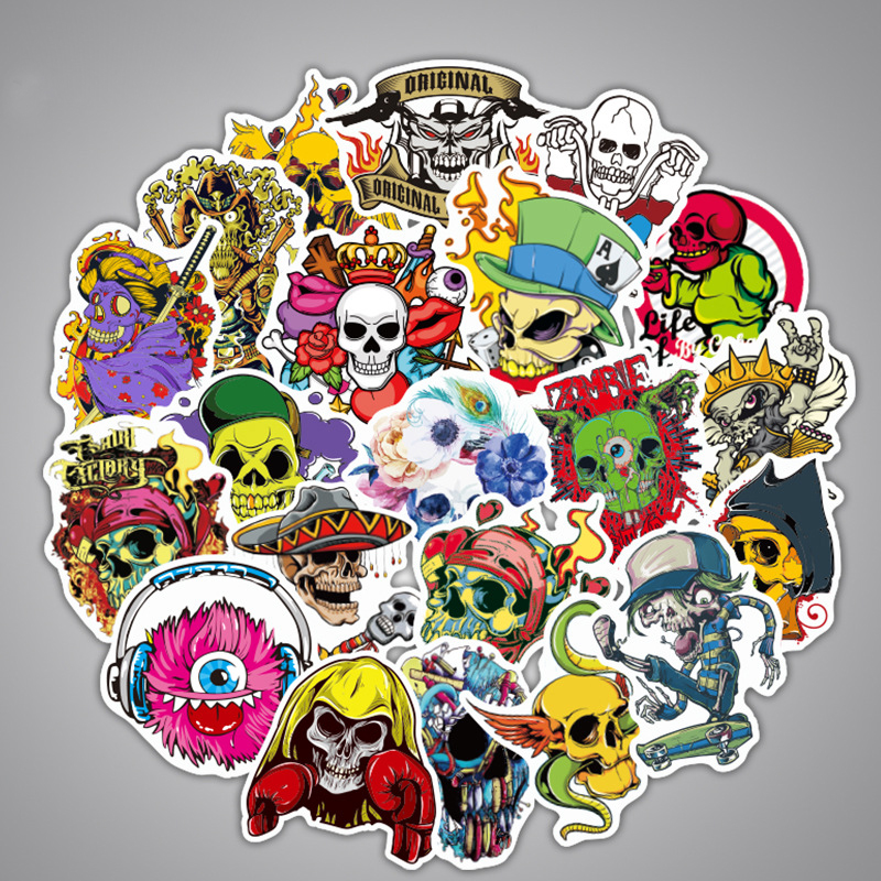 Random not to repeat 50 cartoon scary skull stickers, travel cases, skateboard decorative stickers can be used for holiday gifts