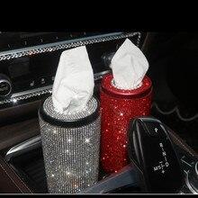 Автомобиль цилиндрической формы кристалл tissue box держатель полностью ювелирное стильные автомобильные аксессуары для девочек женские