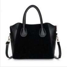 HOT! Fashion bags 2016 women's nubuck leather patchwork handbag smiley bag women shoulder bag women's bags