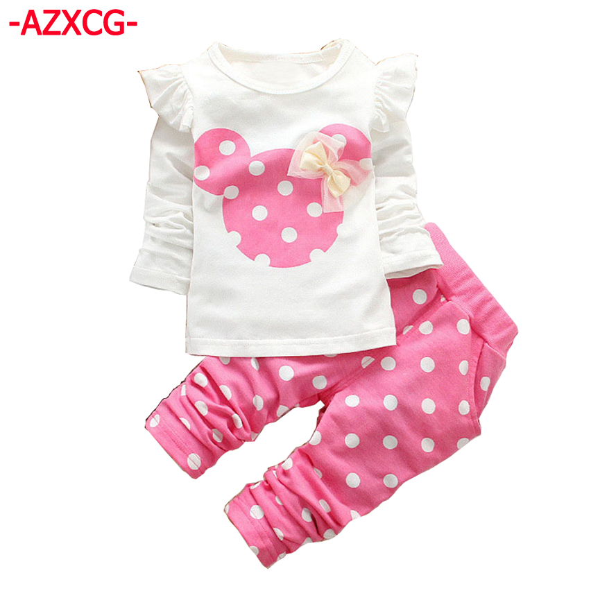 Girls Mickey Clothing Brand Fashion Girl's Sweater + Pant Suit Set Baby Cotton Minnie Tracksuit Children Long Sleeve Clothes