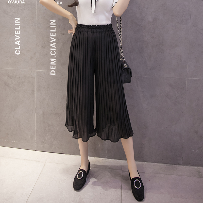 Women's Short Korean High Waist Pleated   Wide     Leg     Pants   Female New Summer Nine Points Chic Student Loose Ulzzang Casual   Pants