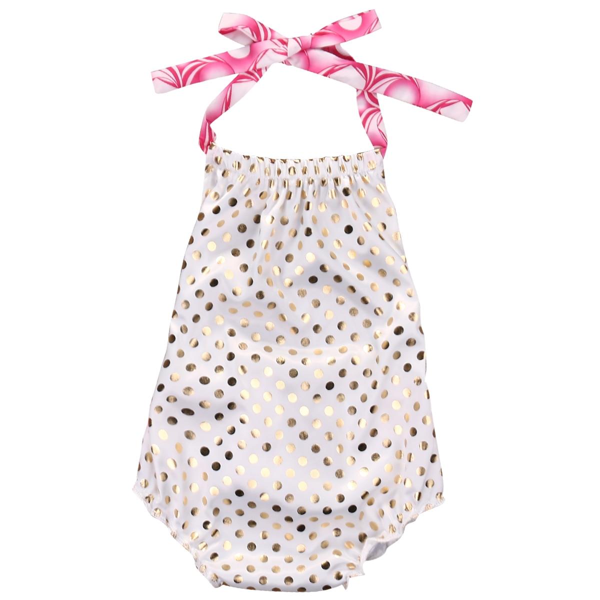 இかわいい幼児女の赤ちゃん服ポルカドット背中の開いたサンスーツ衣装