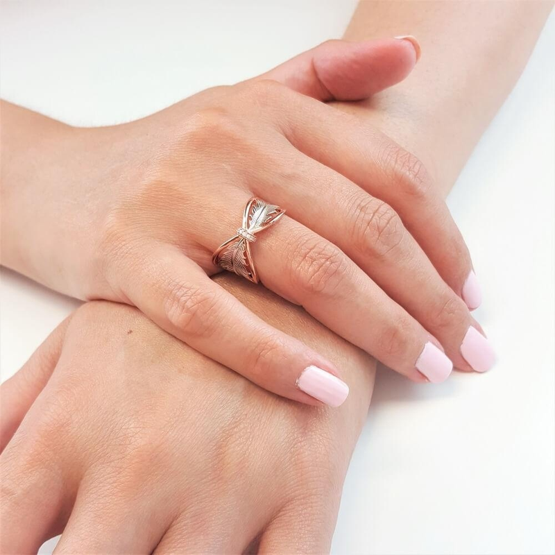 New Arrival Rose Gold Leaf Big Band Rings with Zircon Stone for Women Wedding Engagement Cute Ring Fashion Jewelry 2019 in Rings from Jewelry Accessories