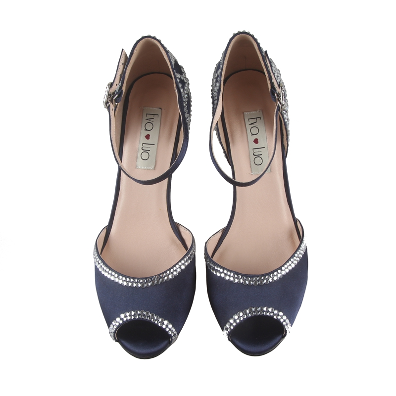 CHS732 Custom Made Navy Blue Crystal Two Piece Women Shoes Peep Toe Bridal  Wedding Shoes Dress Pumps Big Size -in Women s Pumps from Shoes on  Aliexpress.com ... bc93aca5e447