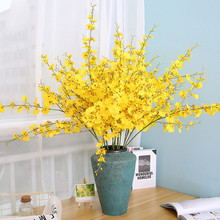 DoreenBeads 1PC Handmade Beautiful Wedding Artificial Flower Yellow Oncidium For Party Living Room Decoration