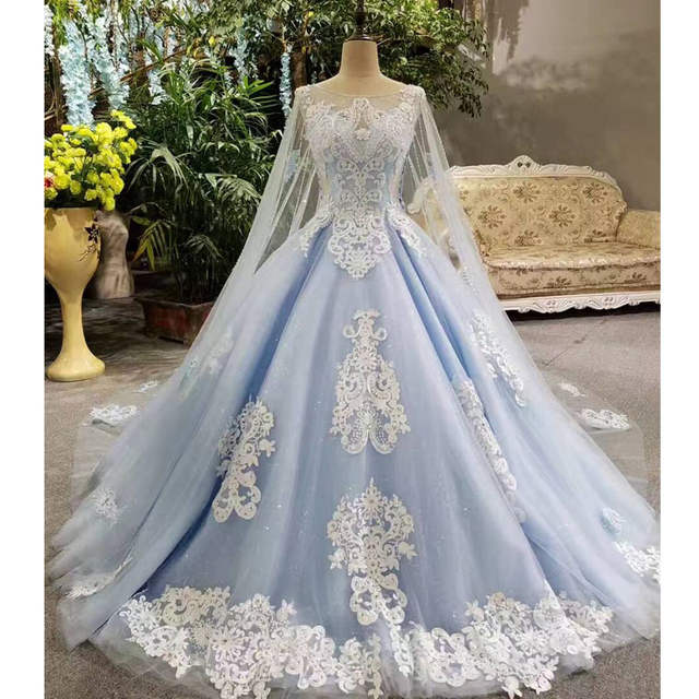 Online Shop 2017 Real Photos Blue Ball Gown Wedding Dress Long Train Luxury  Lace Crystals Beaded Wedding Dresses Cape Veils Bridal Dresses  36f044be71f5
