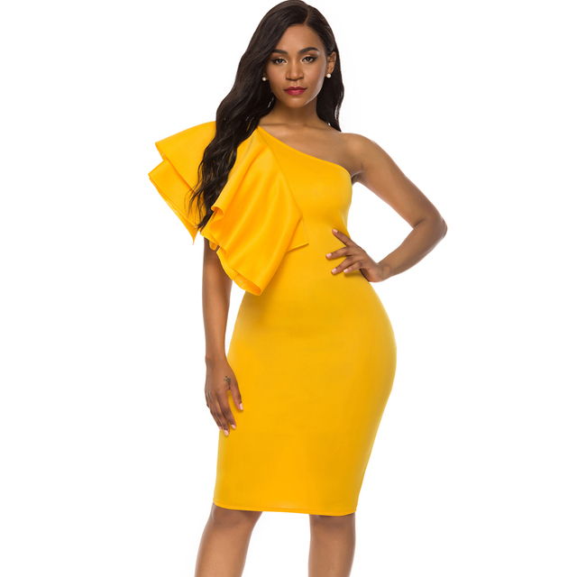 Yellow Party One Shoulder Ruffles Dress 10