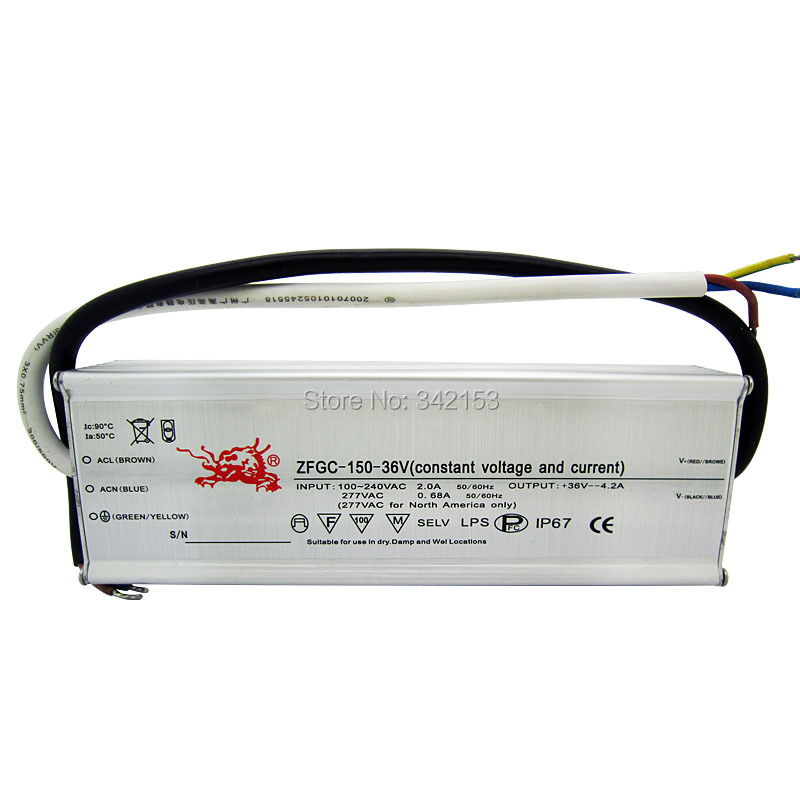ФОТО IP67 Waterproof Lighting Transformers 26-36V 4.2A 150W High Power Constant Current Led Driver For High Power Led Lamp Light