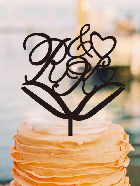 Amazing Wedding Cake Topper Vintage Decoration Custom Initials Toppers Anniversary Design Casamento