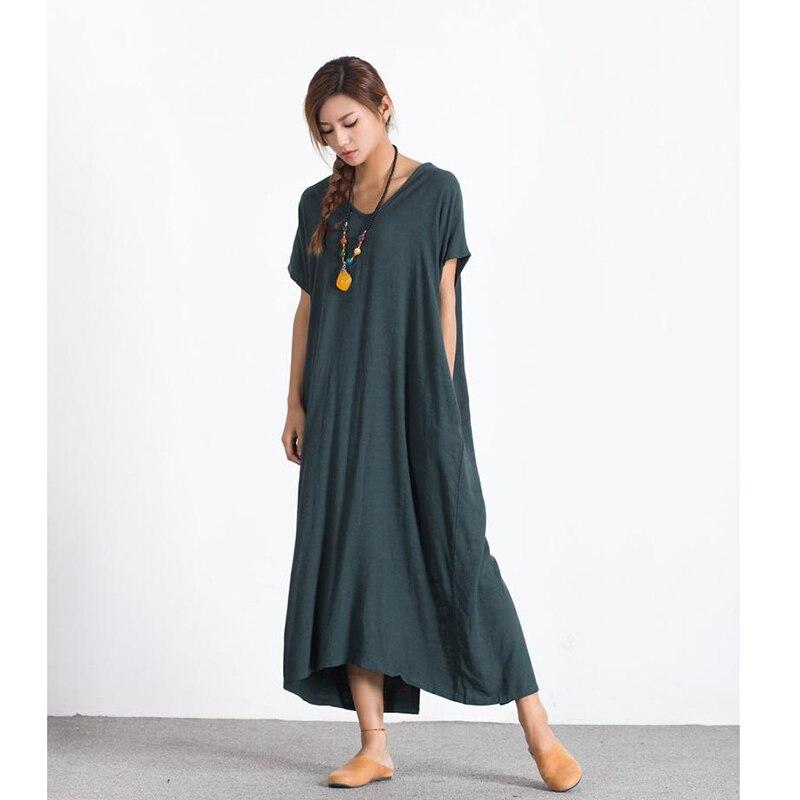 Robe Maxi en lin pour femme robe ample en coton caftan Oversize robe de demoiselle d'honneur grande taille robe femme mode robe de grande taille