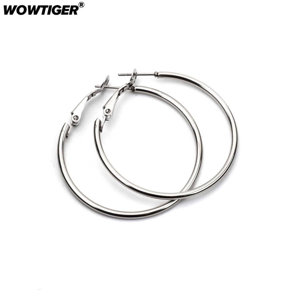 WOWTIGER High Quality Stainless Steel Silver Earring Silver Smooth Round Hoop Earrings for women Party Jewelry