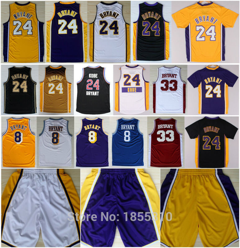 7967690ba10a Cheap Sale Kobe Bryant Jersey  24 Purple Yellow White All Style Top Quality   8 Kobe Basketball Jerseys Shirts Stitched Logos