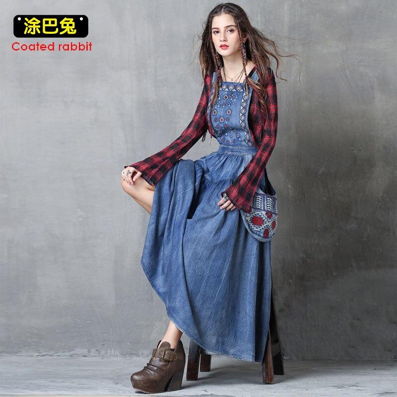 Été femmes denim robe longue broderie poches décontracté ample salopette femme couleur unie bretelles jeans robes