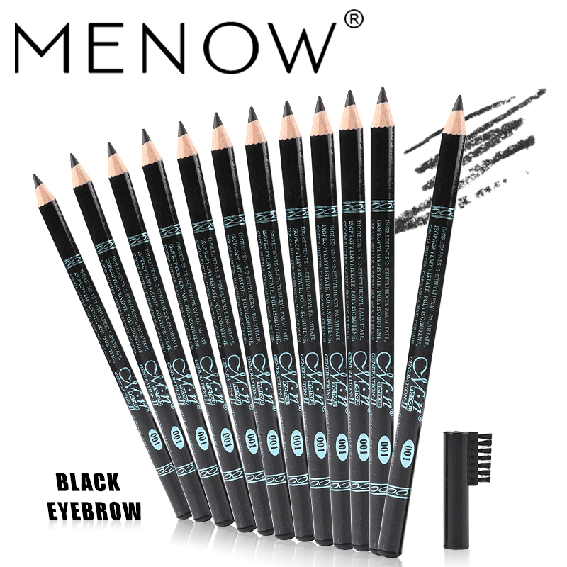 Menow Brand 12Pcs/Set Black Eyebrow Pencil with Eyebrow comb Waterproof and Sweat is not Blooming free shipping P10021-01