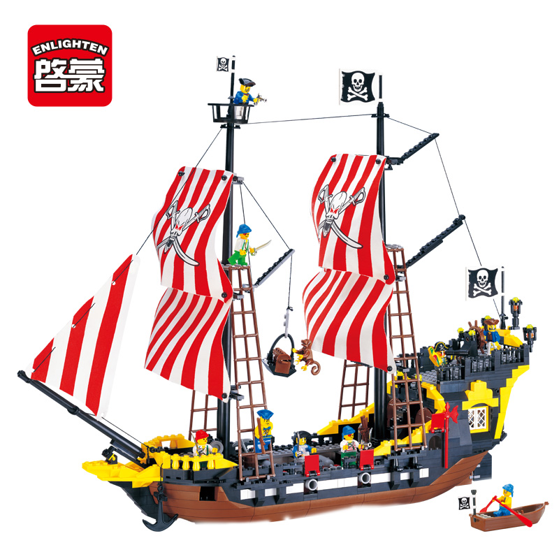Enlighten New 308 Pirates Series Black Pearl Building Block Sets Educational DIY Construction bricks baby toys for children 32pcs magnet toy 2016 new magnetic pipe building block children diy educational construction enlighten baby toys creative bricks